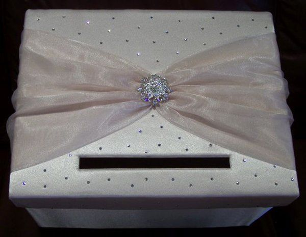 Champagne crepe back satin gift card box with gathered champagne organza finished with scattered...