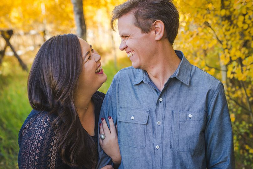 Autumn engagement session in yellow aspen trees