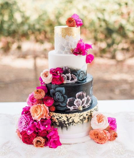 Floral wedding cake with black layer