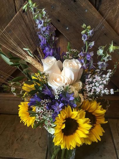 Sunflower and lavender bouquet