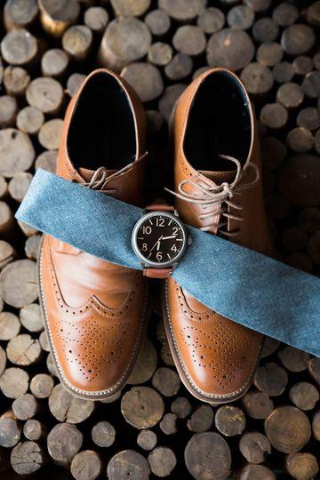 groom details brown shoes blue tie watch 1