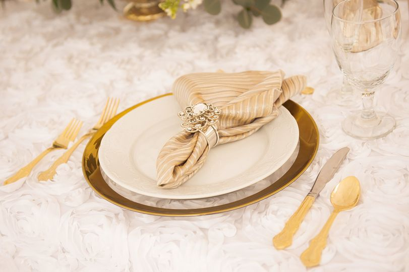 Gold plates and utensils