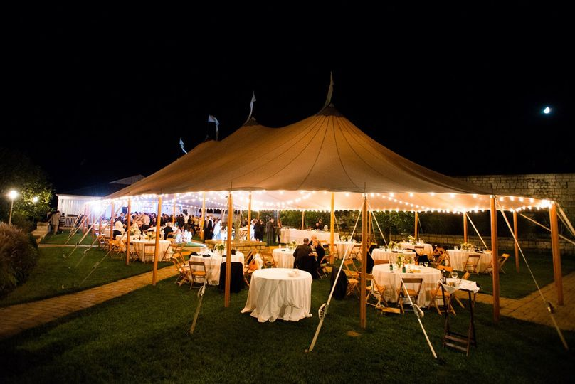 Wedding reception at the Sperry sail tent