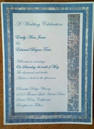 5x7 Wedding Invitation blue print on cream card stock Invitation has 4 layers of decorative blue and...