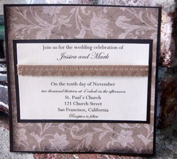 6x6 Square Invitation is printed on textured cream card stock layered with dark brown card stock and...