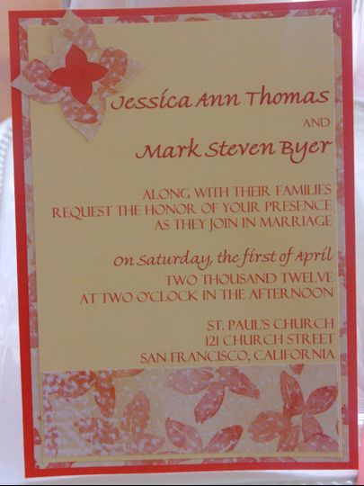 5x7 Wedding Invitation is printed on light yellow card stock layered with orange card stock,...
