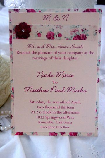 Romantic rose wedding invitation is printed on pale pink pearl card stock and layered with rose card...