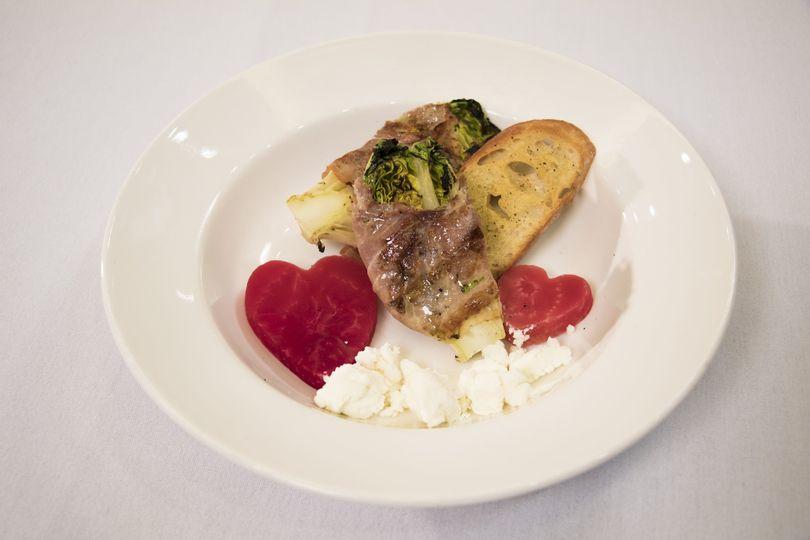 Heart beet prosciutto salad
