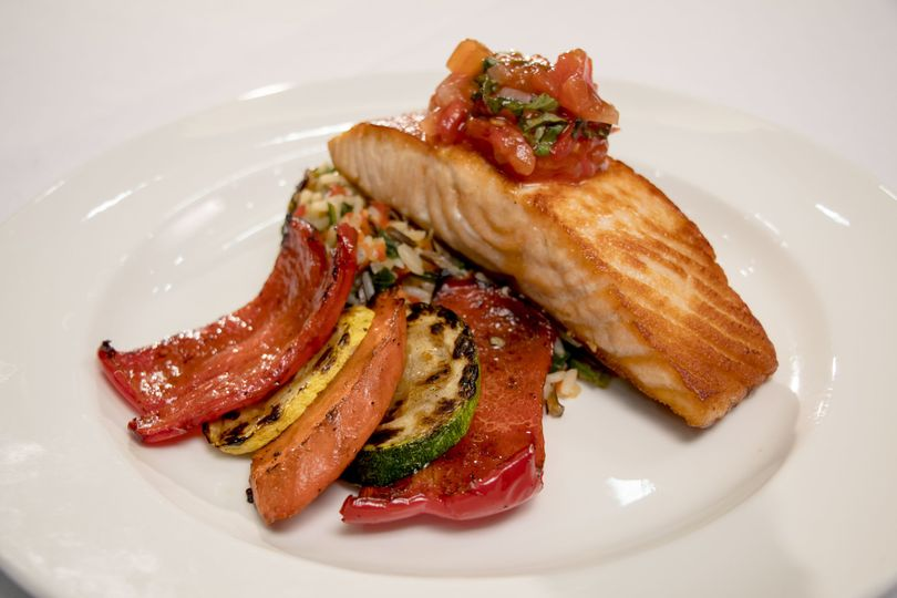 Pan seared faroe island salmon with tomato basil compote