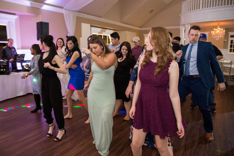 Guests doing a group dance