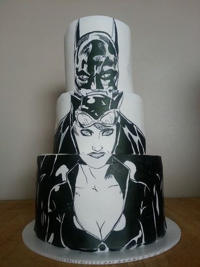 Simple Rustic Wedding Hand Painted Batman And Catwoman