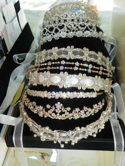 We have a large inventory of headpieces, tiaras and veils!