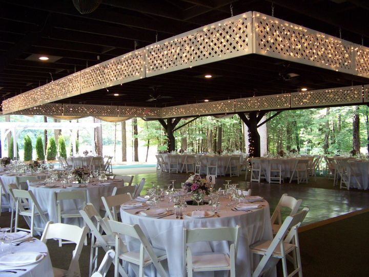Reception tables and lighting