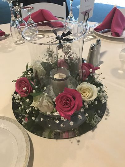 Hurricane Table Centerpiece w/additional Flowers