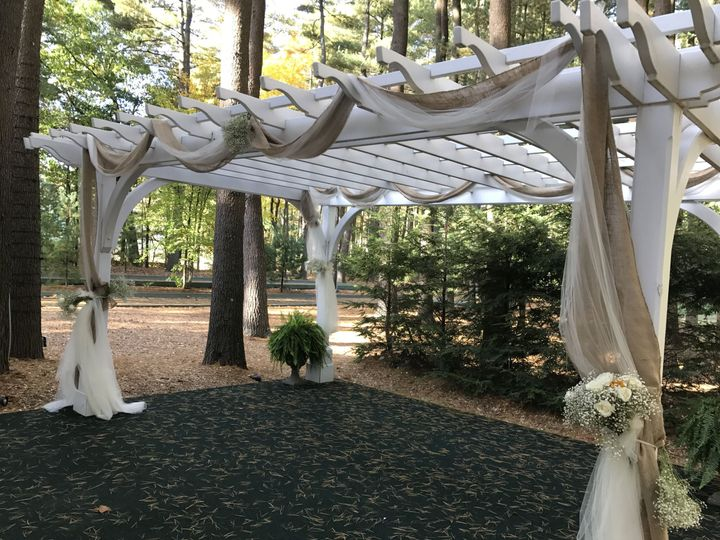 Pavilion pergola with burlap and thule draping