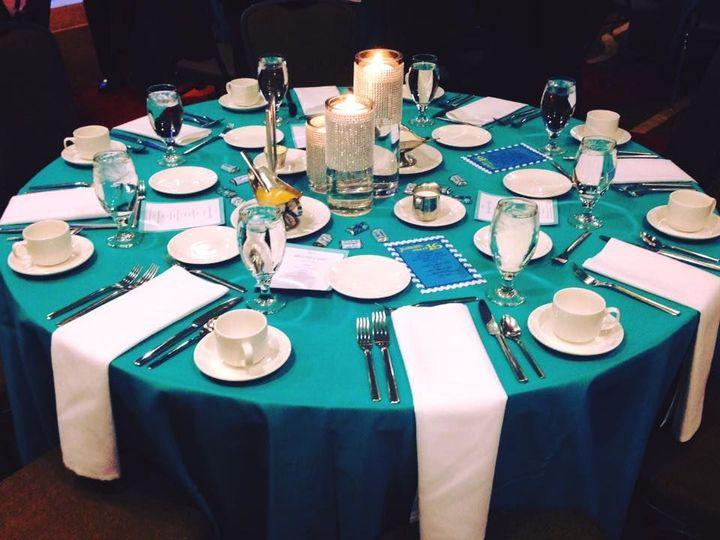Blue table with setup