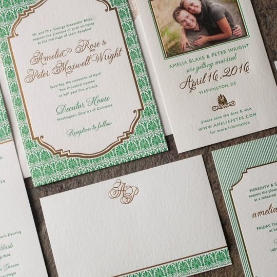 Smock Letterpress Invitation Suite, Available at Ply