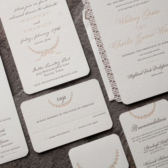 Smock Letterpress Wedding Invitation Suite, Available at Ply