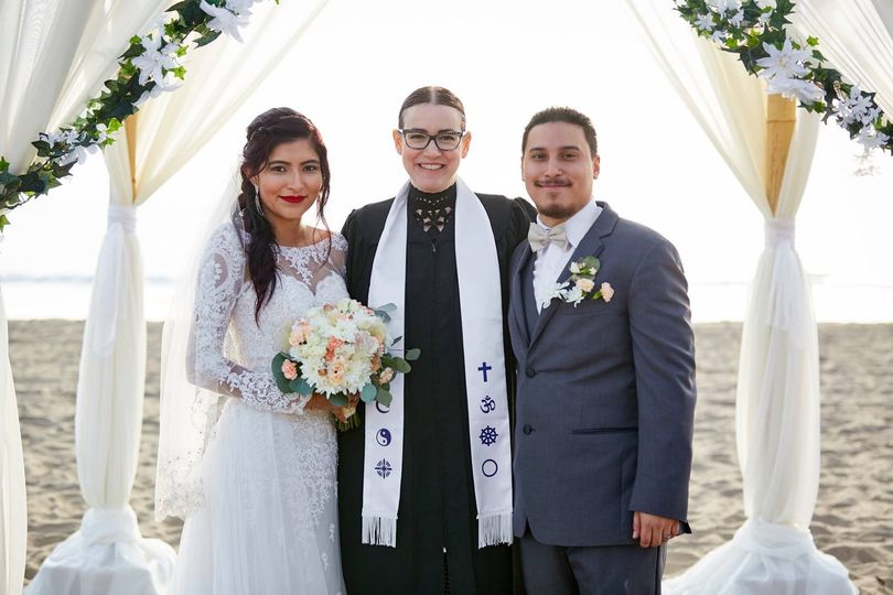 With the wedding officiant - Photo by Owen Captures