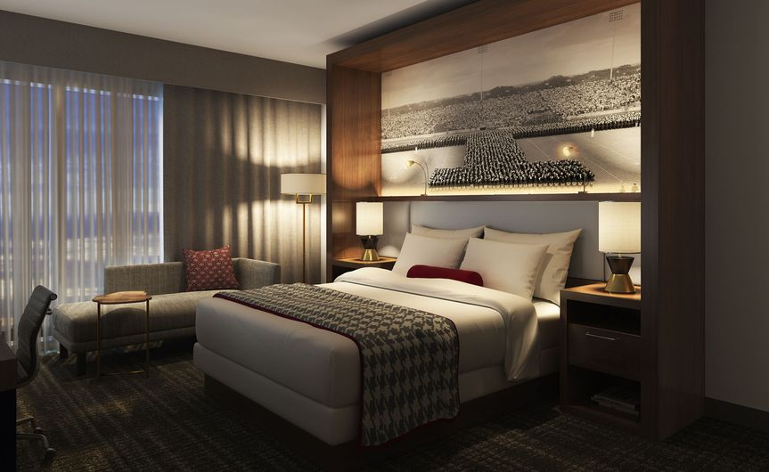 250 guest rooms with traditional king or double queen room type options