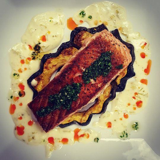 seared salmon private chef