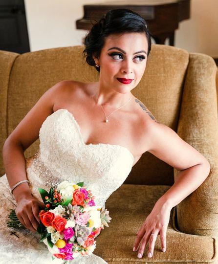 Bride in off shoulder dress