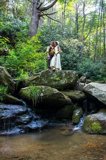 Bride and Groom near the Waterfall
