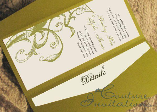 green brown invitation couture invitations