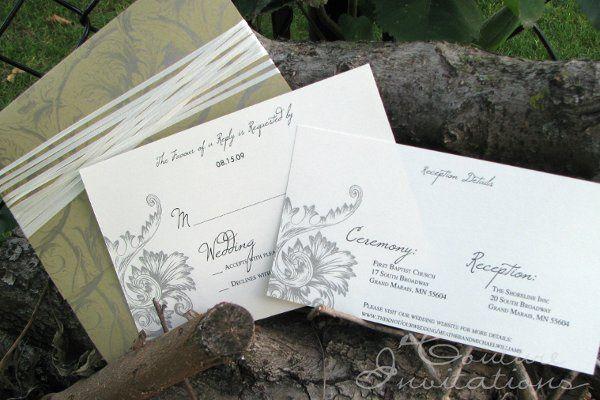 Tmx 1259098055763 Gold.ivory.floral.invite4 Urbandale wedding invitation
