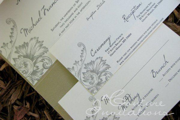 Tmx 1259098071325 Gold.ivory.floral.invite2 Urbandale wedding invitation