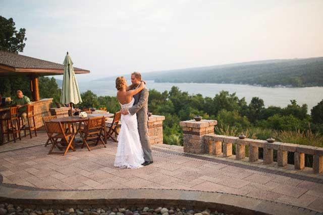 Dave and Amanda's first dance over looking Keuka Lake.