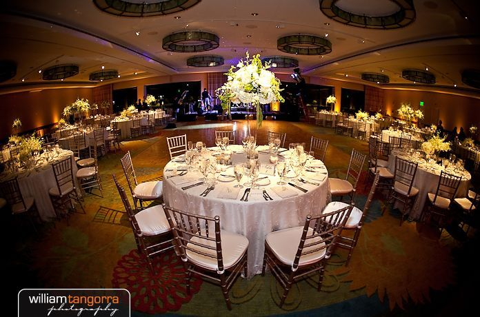 Luxurious Gold Chiavari Chairs included at this Romantic Wedding in Harborview