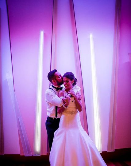The LED Wall in Cocktail Hour is Customized to match your Wedding!