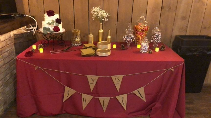 "We love this ""love is sweet"" candy and dessert table"