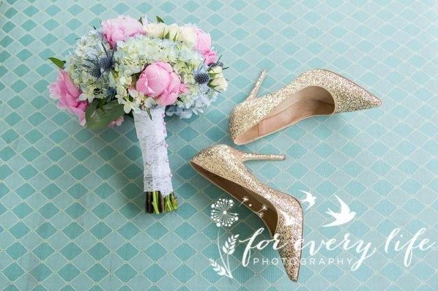 Bridal bouquet and bridal shoes