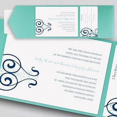 White and teal invites