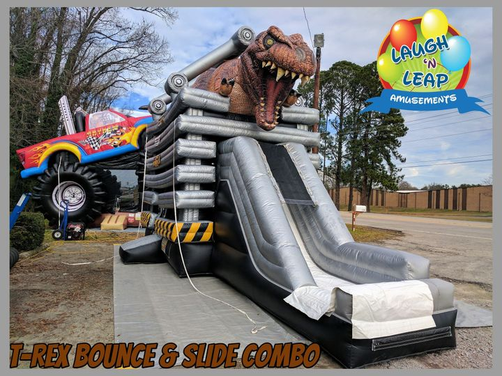 dinosaur inflatable bounce house slide combo