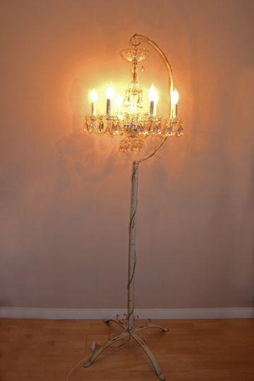 birdcage chandelier lit a