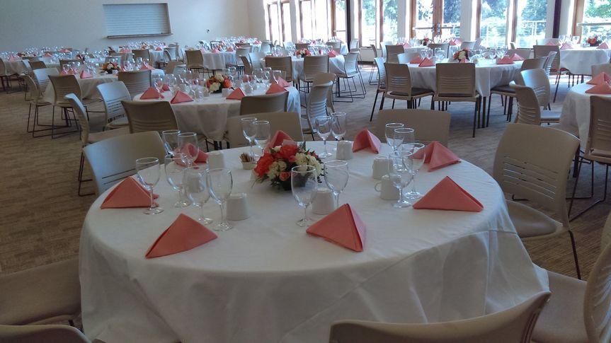 banquet hall peach napkin table