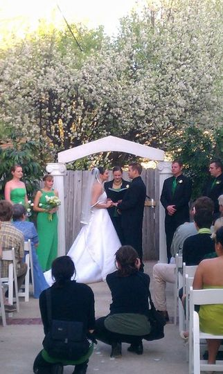 Outdoor wedding Ceremony at The Car Barn!