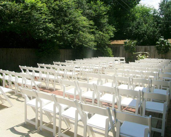 Outdoor ceremony set up at The Car Barn!