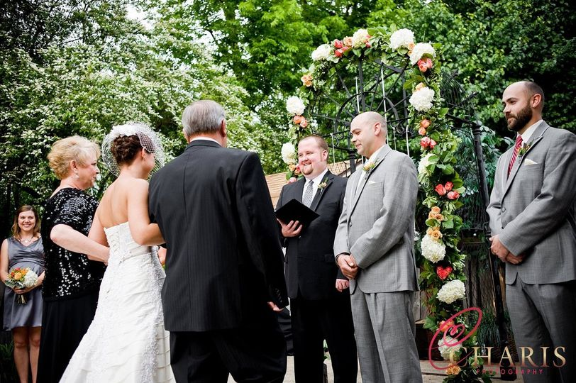 Outdoor ceremonies are beautiful at The Car Barn!