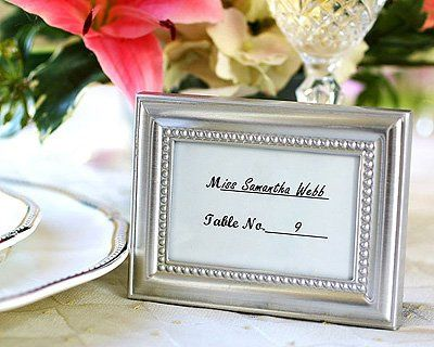 Beautifully Beaded Photo-Placecard Frame-Seen in the hit movie 27 Dresses!  •Metal frame is...
