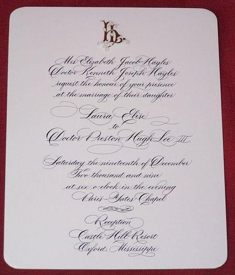Beautiful custom calligraphy engraved invitation