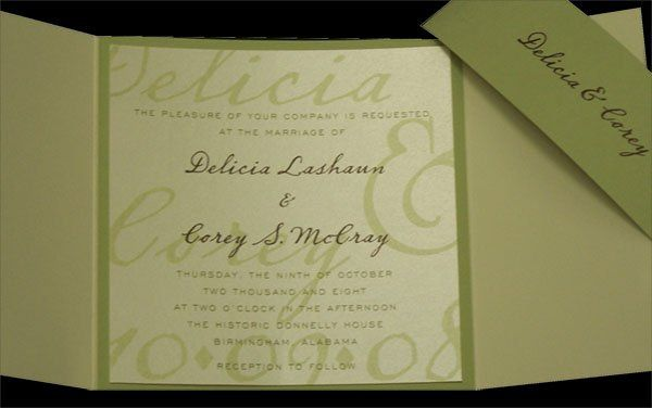 Watermarked names, square gatefold invitation with printed band- VERY popular! All ink colors and...