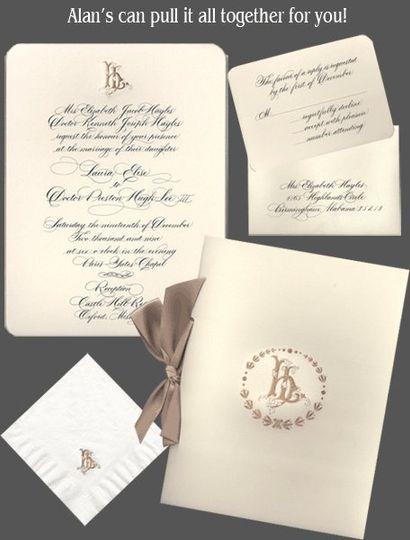 Alan's Invitations has beautiful custom hand calligraphy invitations, programs and more.