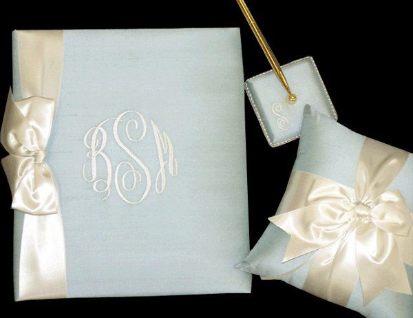 see more of Alan's Invitations beautiful silk, monogrammed bridal albums on the website