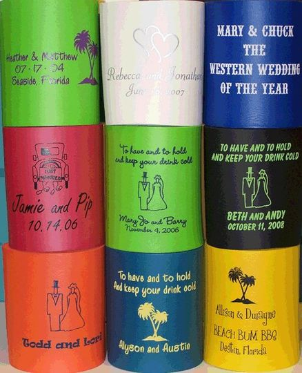 Alan's Invitations has a huge selection of customizable koozies, cups and napkins