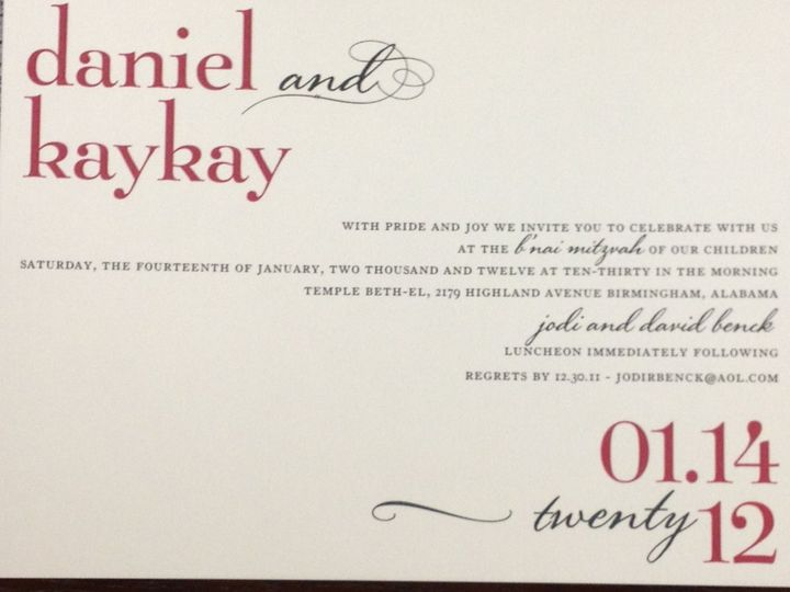 Tmx 1354822395345 PhotoMar1924306PM Birmingham wedding invitation