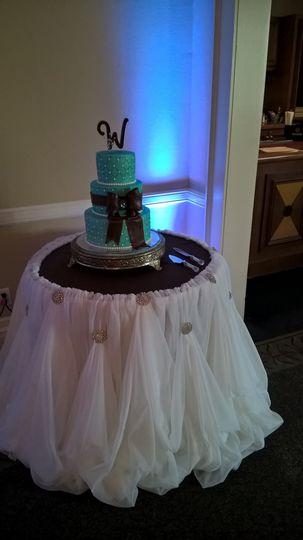 Joy & Lamar's Tiffany Blue & Chocolate Cake Table